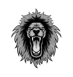 gray color or lion roars lion mascot logo vector image