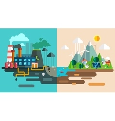 Green eco city die ecology concept New energy vector