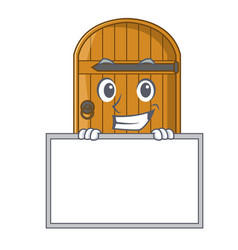 Grinning with board cartoon wooden door massive vector