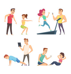 gym training set cartoon sport characters vector image