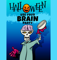 halloween holiday cartoon design with skeleton vector image