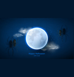 halloween night background with spiders vector image