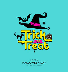 happy halloween day trick or treat message vector image