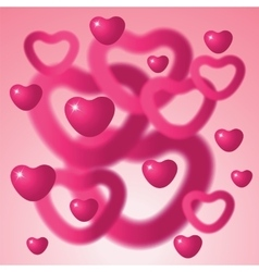 Heart shapes on pink background vector image