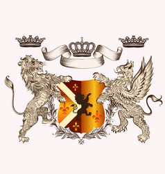 Heraldic design with coat arms griffin lion vector