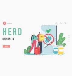 herd immunity landing page template travelers vector image
