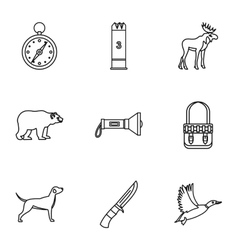Hunting icons set outline style vector image