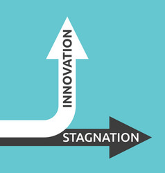 Innovation stagnation arrows vector