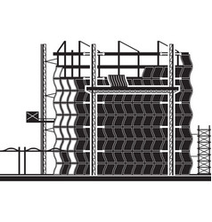 Installation curtain wall building vector