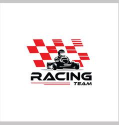 Karting race go kart logo kart driver sport vector