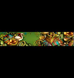 latin america hand drawn doodle banner cartoon vector image