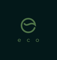 letter e with leaf shape logo design template eco vector image