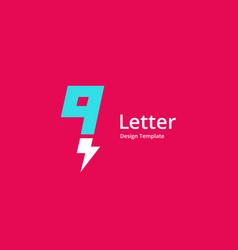 Letter q or number 9 lightning logo icon design vector