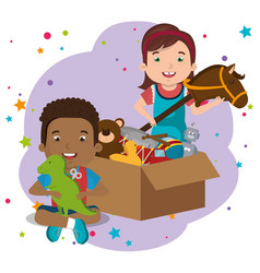 Little boy and girl playing with toys characters vector