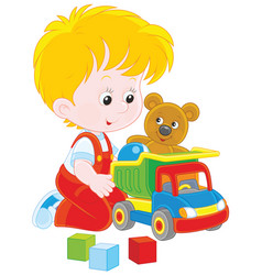 little boy with a toy truck vector image