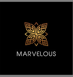 luxury beauty floral elegant logo style sign vector image