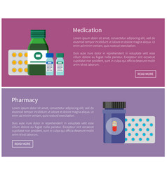 Medication and pharmacy internet promo banners vector