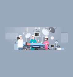 Mix race surgeons team surrounding patient lying vector