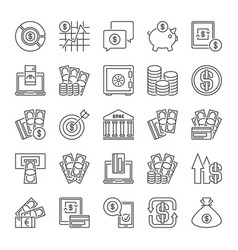 money outline icons cash banknotes cards vector image
