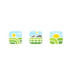 Natural agriculture organic food farm logo vector