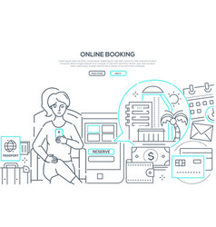Online booking - modern line design style web vector