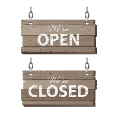 open and closed wooden signs vector image