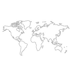 outline world map on white background vector image
