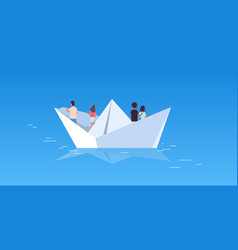People group floating on paper boat rear view men vector