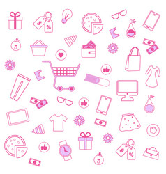 pink men and women accessories on white background vector image