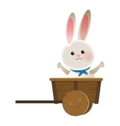 Rabbit cartoon in wagon icon vector