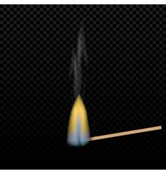 Realistic burning match on a gradient background vector