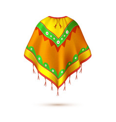 Realistic mexican native american indian poncho vector