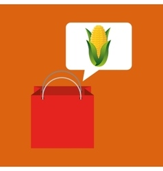 Red bag buying corn cob vegetable vector