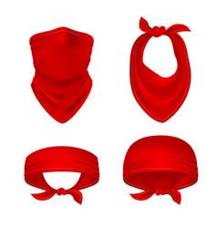 red bandana cowboy or biker face scarf bandanna vector image