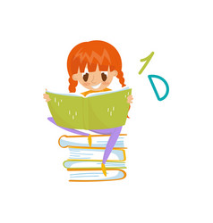 redhead little girl sitting on a pile of books and vector image