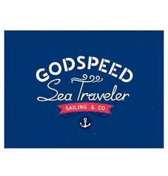 Retro marine travel postcard vector image