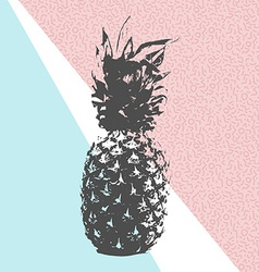 Retro summer pineapple design with 80s shapes vector