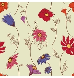 Scattered flowers seamless pattern vector image