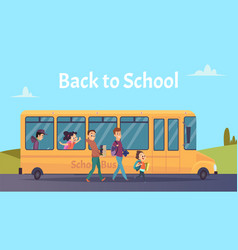 school bus students transportation happy boya vector image