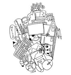 School education doodle art vector