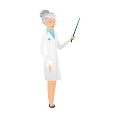 Senior caucasian doctor holding pointer stick vector