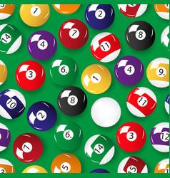Set color billiards balls seamless pattern vector