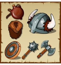 Set of the Vikings weapons and equipments vector image vector image