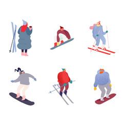 set winter sport people characters sportsman vector image