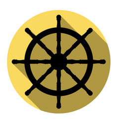 Ship wheel sign flat black icon with flat vector
