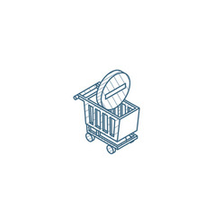 shopping cart and minus sign isometric icon 3d vector image