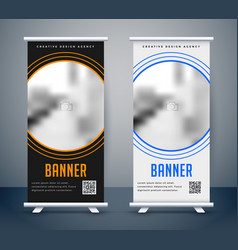 simple dark and light rollup banner vector image