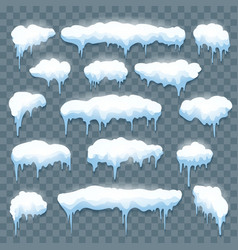 snow icicles set on transparent vector image