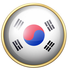 south korea flag on round button vector image
