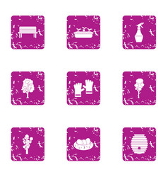 Street walk icons set grunge style vector